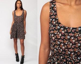 90s Floral Dress Grunge MINI Sundress Hippie Floral Sun PLEATED 1990s Bohemian Vintage High Waist Boho Sleeveless Black Brown Medium