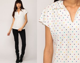 Polka Dot Blouse 70s Shirt White Rainbow V Neck Top 80s Cap Sleeve Retro Preppy Disco Hipster Vintage Collared 1980s Medium