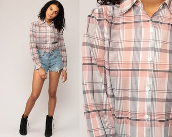 Plaid Shirt 70s Button Up Women 80s Hipster White Black Rust Indie Top 1970s Vintage Long Sleeve Retro Small Medium