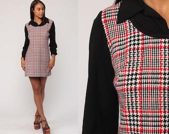 Mod Mini Dress 70s Shift Plaid School Girl Long Sleeve Checkered Tartan Print Vintage 1970s Knit Red Black Lolita Twiggy Jumper Medium