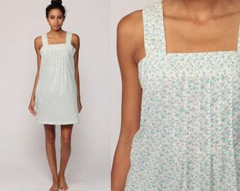 70s Sundress Tent Dress Mini Boho Floral Sun Bohemian Vintage Hippie Festival Summer Blue White Cotton Shift Minidress Small