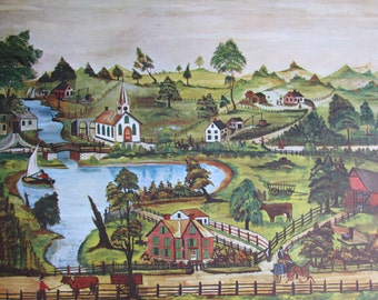Peaceful Village/Hudson River Valley, Sunset, American Primitive Painting, 1962 Reproduction Book Page, Color Plate, 9.5 x 12 in