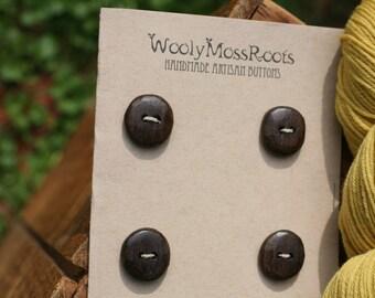 4 Black Walnut Wood Buttons- Handmade Wooden Buttons- Eco Knitting Supplies, Eco Craft Supplies