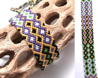 Friendship bracelet - embroidery floss - wide - diamond pattern - knotted - handmade - macrame - woven - string - green - black - white