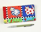Bright Cats Checkbook Cover for Duplicate Checks, Pen Holder, Cats Cotton Fabric, Cheque Book Cover