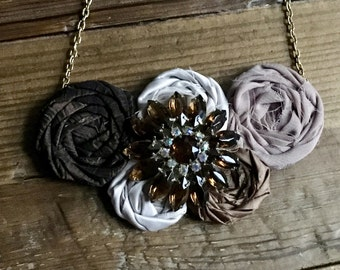 Brown Ombre Fabric Flower Statement Necklace with Vintage Brooch, Bib Necklace, Rolled Rosette Statement Necklace