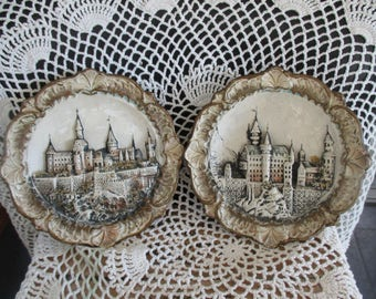 Neuschwanstein Castle Germany Intricate Carved & Painted Souvenir Plates/Set Wall Decoration