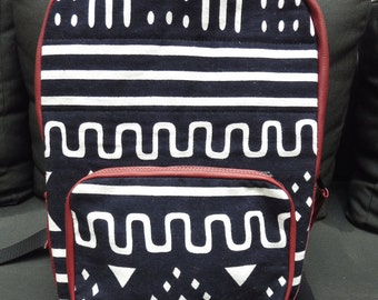 SALE- African Print Backpack in Oxblood Red Leather