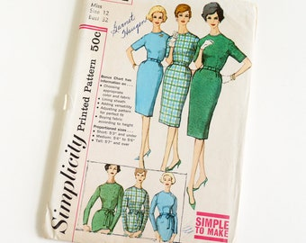 Vintage 1960s Womens Size 12 One Piece Slim Day Dress in Proportioned Sizes Simplicity Sewing Pattern 3574 UNCUT Complete / b32 w25