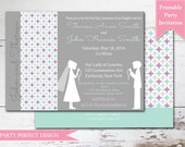 Purple and Sage Boy Girl Twins First Communion invitation Announcement  with optional thank you card- Print Your Own