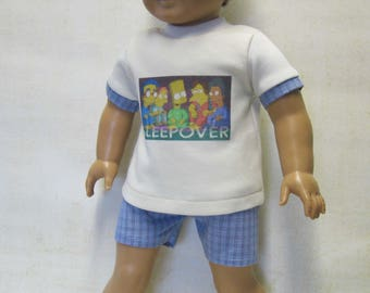 """Sleepover PJ set for Logan and other 18"""" Dolls"""
