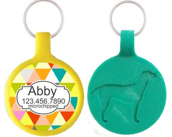 Geometric Triangles Personalized Dog ID Pet Tag Custom Pet Tag You Choose Tag Size & Colors