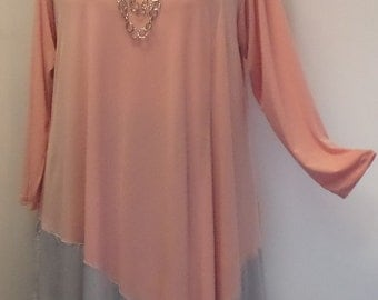 Coco and Juan, Plus Size Tunic, Lagenlook, Shell Pink and Silver Gray, Angel Tunic, Plus Size Top, Size 2 (fits 3X,4X)   Bust 60 inches