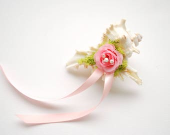 Seashell Ring Bearer Pillow, Alternative Seashell Engagement Ring Holder, Nautical Beach Wedding Party, Hawaiian Mermaid Wedding, Pink Rose