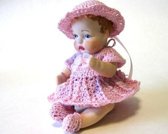 "Porcelain doll 5"" handcrafted from vintage molds dressed in pink"