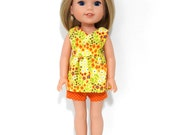 14 Inch Doll Clothes, Trendy Handmade Yellow Print Top, Polka Dot Shorts fits Wellie Wisher Doll