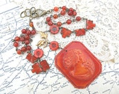 paprika cameo necklace assemblage upcycled vintage jewelry monochromaitc cinnabar color czech flowers