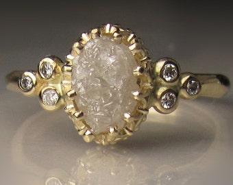 Raw Diamond Engagement Ring, Raw Diamond Cluster Ring, 14k Yellow Gold Rough Diamond Ring