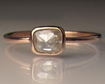 Rose Cut Diamond Engagement Ring, 14k Rose Gold Diamond Ring