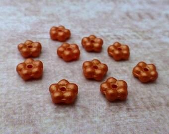 free uk postage - 120 Beads Forget Me Not Flower Beads Orange Gold Shine