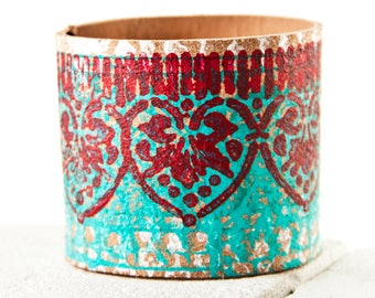 Unique Presents  Coral Turquoise Cuff Bracelet - Red Turquoise Teal Jewelry Sale