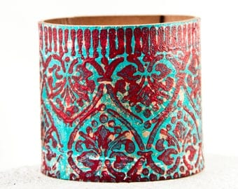 Red & Turquoise Bracelet Cuff - Coral Teal Jewelry Wide Wristband