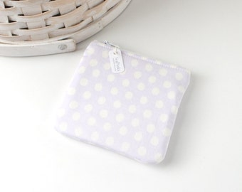 Lavender Polka Dots Coin Purse Purple Change Purse Polka Dot Gift Card Holder