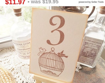 SALE Wedding Table Numbers Table Sign Love Birds Birdcage Ivory Set of 10