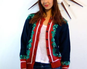 Spring SALE 25% Vintage 80s Ugly Christmas Sweater Navy Blue Jumper Red Green Holly Leaf Silver Button Down Cotton Knit Stripe 1980s Holiday