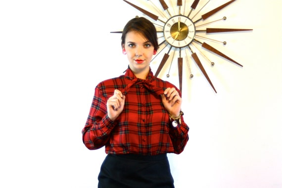 Vintage Silk Red Plaid Blouse 1980s Pussy Bow VALERIE STEVENS Long Sleeve Button Down Ascot Tie Collar 80s Ladies Secretary Pussybow Shirt