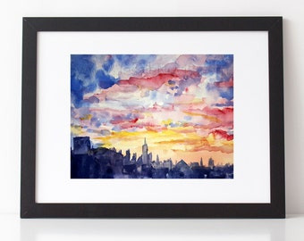 watercolor NYC painting Sunset view Manhattan skyline watercolor print of original watercolor New York City painting aquarelle Jessie Novik
