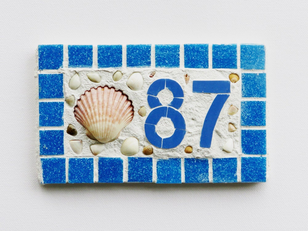 Digit Custom Mosaic House Numbers - House number small 1 or 2 digit seashell mosaic outdoor house