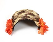 ON SALE until 3/19 Vintage Pillbox Hat Brown Ivory Raffia Straw Orange Flowers Floral Fascinator Free US Shipping