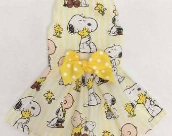 Snoopy and Friends Peanuts Inspired Dog Dress Size XXXS through Medium by Doogie Couture Pet Boutique