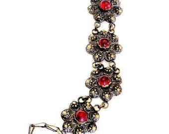 Bohemian Red Glass Cabochon Bracelet Gilt Setting