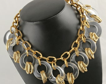 Smashing Vintage Lucite and Gold Tone Necklace - Runway Fashion