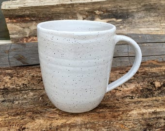 Stoneware Mug, White Pottery Mug, Ceramic Mug, Rustic Mugs, Farmhouse, Coffee Mug, Tea Cup, Handmade Pottery,  j clay pottery. large mug