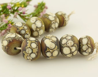 Lampwork Glass Bead Set SRA  Organic Rustic, Olive Green, Ivory, Gray, Silver