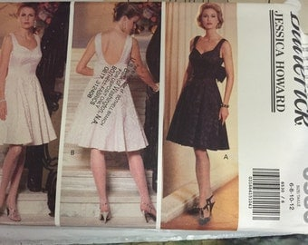 Butterick 6530 Dress Sewing Pattern sleeveless fitted flared dress misses size 6 8 10 12 Uncut