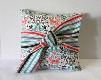"""Pillow Cover Fits 14"""" x 14"""" Insert Zipper Closure Papillon Fabrics by Makower Nursery Decor Butterflies Coral Teal Black"""