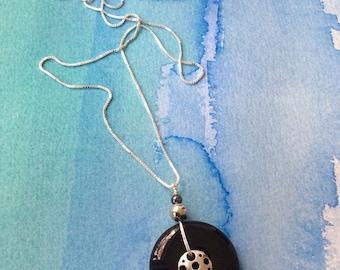 FREE SHIPPING Sterling Silver Chian Black Stone Agate Pendant
