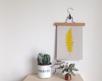 Fern botanical print in bright yellow limited edition Risograph 'Botanique Electrique' collection