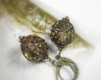Filigree Vintaj Brass Earrings, Champagne Czech Glass Victorian Style Dangle Earrings, Vintage Style Neutral Affordable Jewelry Gift Ideas