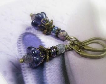 Czech Glass Flower Earrings, Purple Dangle Earrings, Antique Brass Jewelry, Womens Accessories, Gifts for Her, Feminine Jewellery, Gardeners