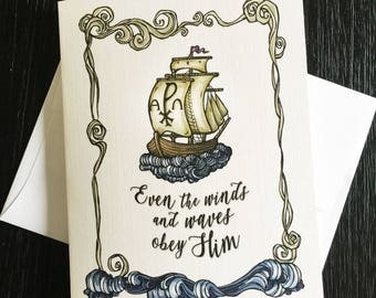 Chi Rho Ship, Winds and Wave Obey Blank Note Cards