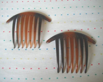 """Long Translucent Brown and Black Tortoiseshell Plastic Hair Combs, Large Thick Teeth, 3 1/4"""" Long (2)"""