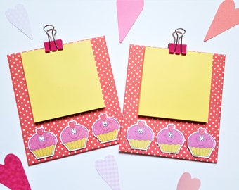 Magnetic Cipboard, Notepad Holder, Cupcake Valentine, Memo Pad, Fridge Magnet, Planning Accessory