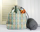 Crochet project bag, drawstring pouch with pockets, gift for knitter, drawstring bag, sock knitting bag, project tote