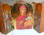 Mary Iconos Byzantine Triptych Virgin and Angelicos Mini Wood Icon Shrine Altar Pocket Shrine
