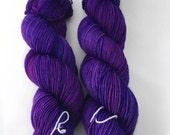 Bijou - (squish sock) - hand dyed yarn - sock weight - fingering- merino wool - superwash - tonal - purple